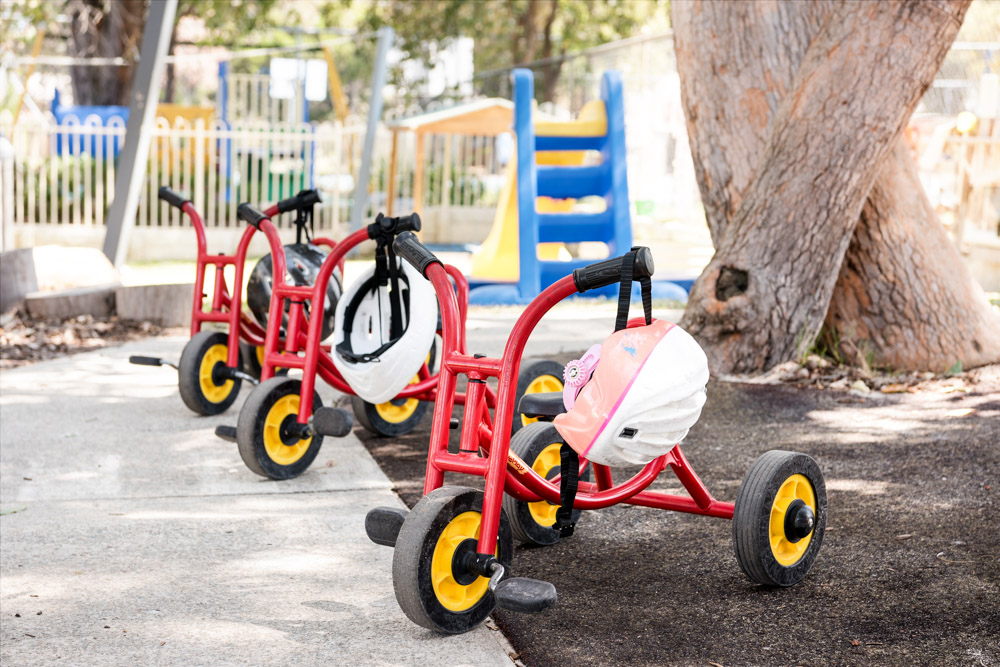 safe tricycles used in meerilinga woodvale early learning program